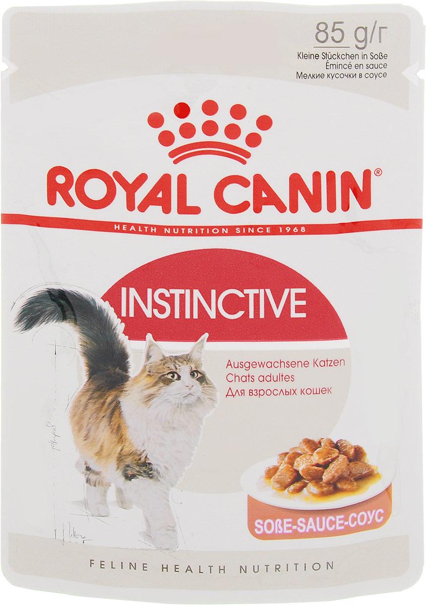 Консервы Royal Canin Instinctive, для кошек старше 1 года, мелкие кусочки в соусе, 85 г консервы royal canin maine coon adult для кошек породы мейн кун в возрасте старше 15 месяцев мелкие кусочки в соусе 85 г