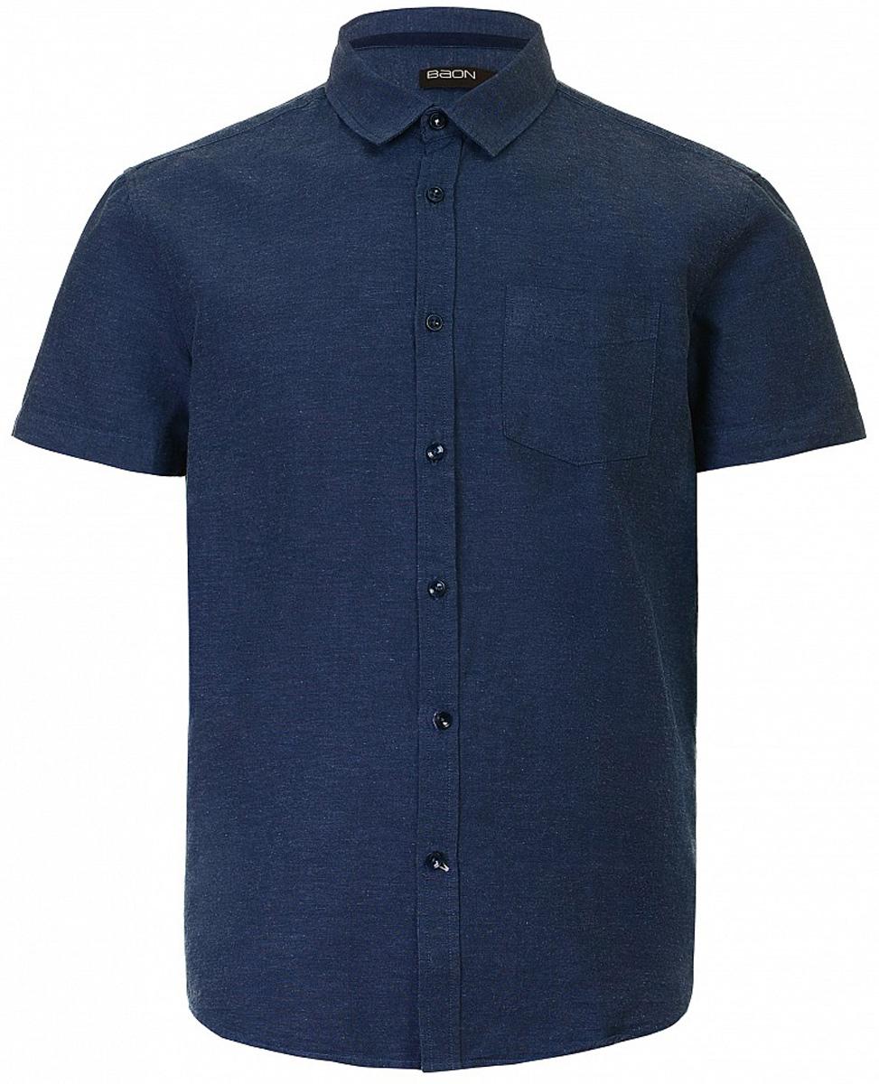 Рубашка мужская Baon, цвет: темно-синий. B687013_Deep Navy. Размер L (50)B687013_Deep NavyРубашка мужская Baon выполнена из хлопка и льна. Модель с отложным воротником и короткими рукавами застегивается на пуговицы.