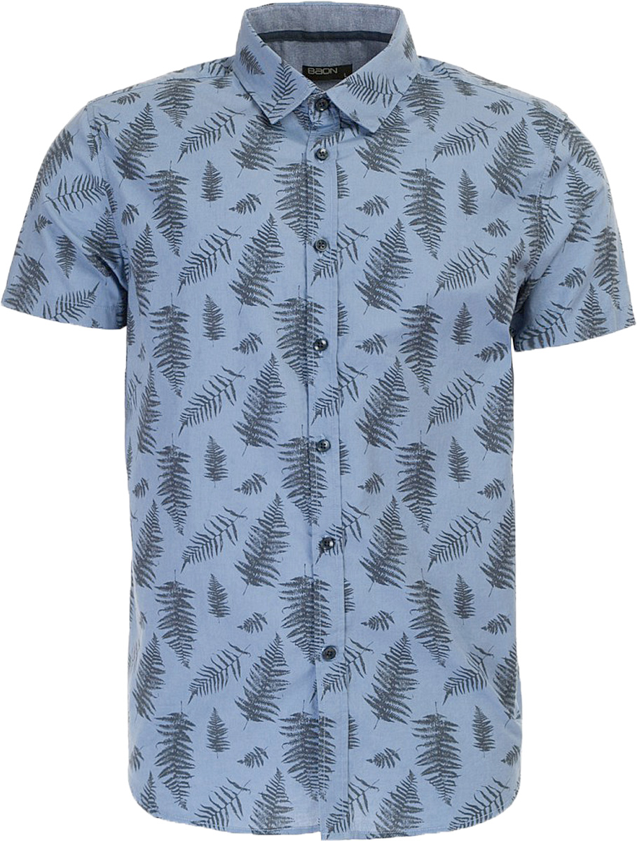 Рубашка мужская Baon, цвет: синий. B687011_Deep Navy Printed. Размер M (48)B687011_Deep Navy PrintedРубашка мужская Baon выполнена из натурального материала. Модель с отложным воротником и короткими рукавами застегивается на пуговицы.