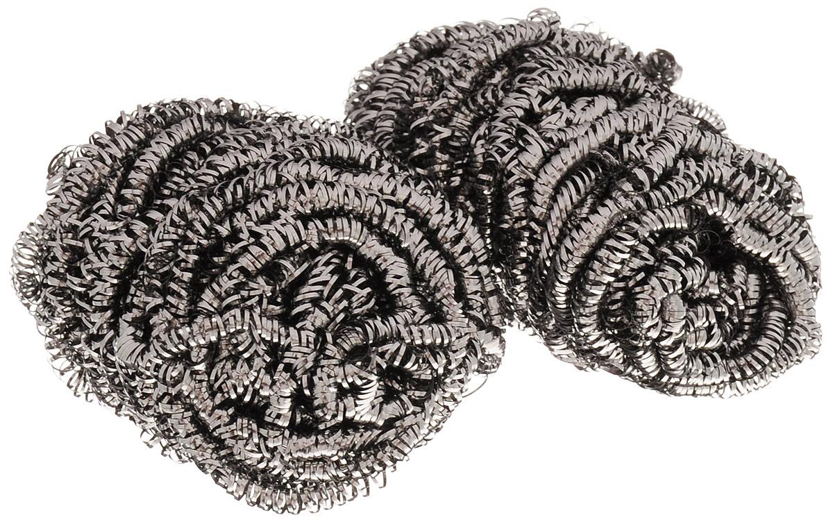 Губка для мытья посуды Home Queen Спираль, металлическая, 2 шт губка мытья для посуды paclan стандарт 10 шт