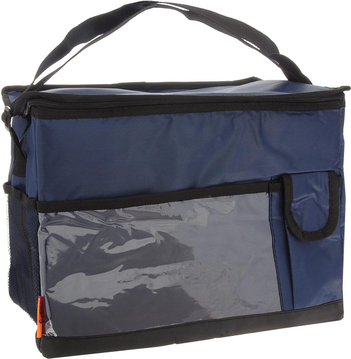 """Термосумка """"Totem"""" изготовлена из прочного полиэстера, внутренний изоляционный материал (EPE и PEVA) позволяет сохранять содержимое сумки свежим. Сумка закрывается на молнию, снабжена регулируемым по длине ремнем для переноски. Спереди имеется прозрачный карман и небольшой кармашек, закрывающийся на липучку. Сбоку расположен сетчатый карман.Применяемые в изготовлении термосумки материалы и технологии позволяют сохранять продукты глубокой заморозки, а также холодными напитки. Для наиболее продолжительного эффекта рекомендуется использовать хладоэлементы. Термосумка также прекрасно подходит и для перевозки горячих блюд.Время сохранения температуры без хладоэлементов: 6 ч.Время сохранения температуры с хладоэлементами: 12 ч."""