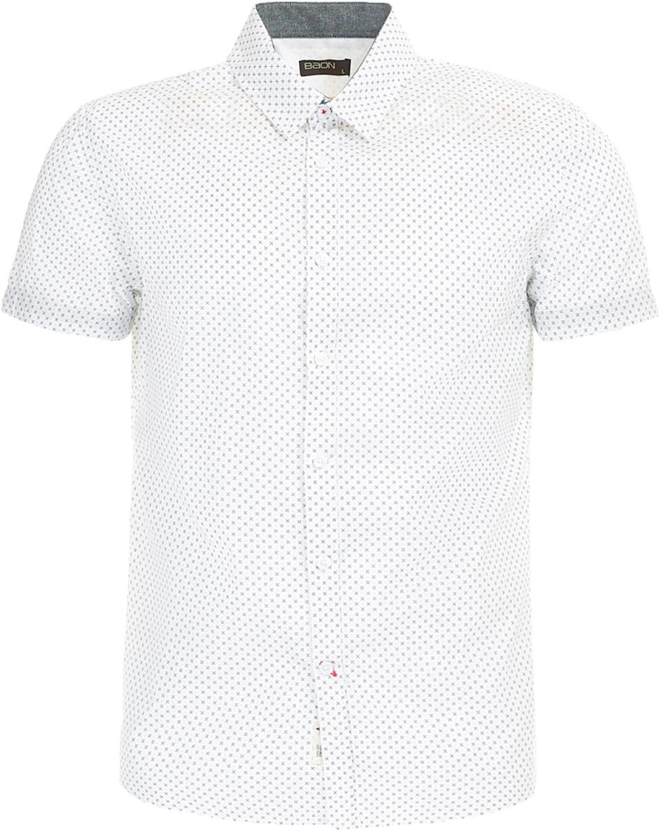 Рубашка мужская Baon, цвет: белый. B687003_White Printed. Размер XXL (54)B687003_White PrintedРубашка мужская Baon выполнена из натурального материала. Модель с отложным воротником и короткими рукавами застегивается на пуговицы.