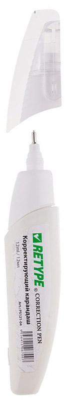 Retype Корректирующий карандаш 12 млPS121-04Корректирующий карандаш Retype с металлическим наконечником применяется для точечных и мелких исправлений. Подходит для любого типа бумаги и чернил. Металлический наконечник обеспечивает оптимальную подачу корректирующей жидкости. Быстро сохнет, легко наносится. Не содержит вредных и токсичных элементов, не вызывает аллергических реакций.