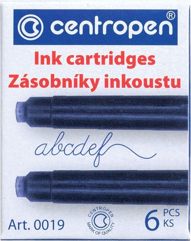 Centropen Картриджи чернильные синие 6 шт100190601Набор сменных картриджей для перьевой ручки. Цвет чернил - синий, в упаковке 6 шт. Сменные картриджи с чернилами позволяют легко и просто заправить перьевую ручку, при этом не испачкавшись.