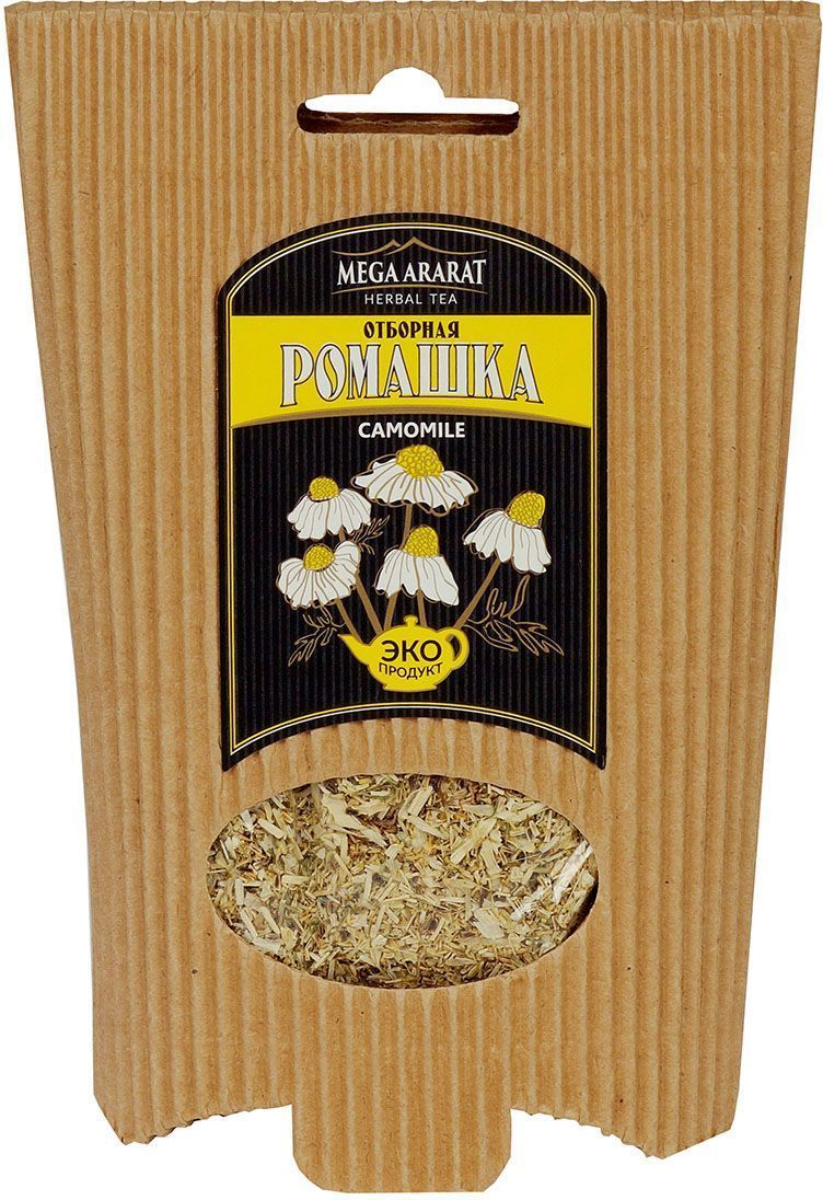 Mega Ararat Ромашка цветки травяной чай листовой, 50 г4850005720153Mega Ararat Ромашка цветки - натуральный продукт из высокогорных, экологически чистых регионов Армении ручной сборки и традиционной сушки без химических добавок. Ромашковый чай обладает сильным антисептическим свойством. Используется для профилактики простудных заболеваний, может снимать воспаление и спазмы при заболеваниях желудка, уменьшать боль. Снижает риск возникновения камней в почках и желчном пузыре. Оказывает мягкое успокаивающее действие на центральную нервную систему, помогает справиться с негативным воздействием стрессов, бессонницей.