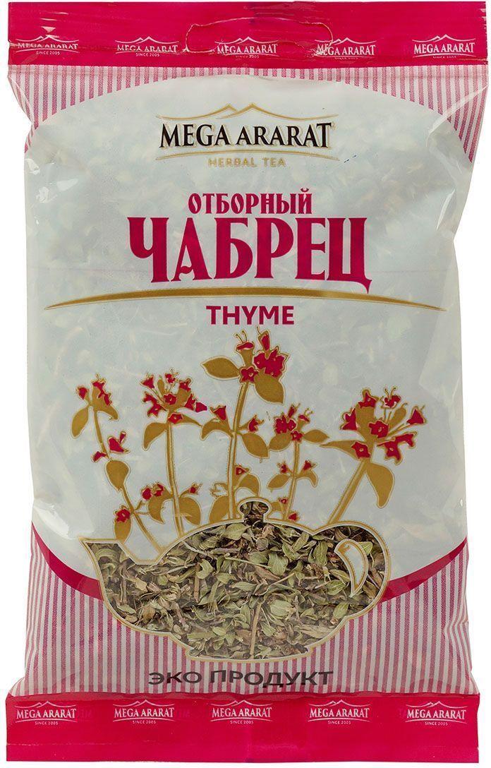 Mega Ararat Чабрец листья и цветки травяной чай листовой, 30 г4850005720184Mega Ararat Чабрец - натуральный продукт из высокогорных, экологически чистых регионов Армении ручной сборки и традиционной сушки без химических добавок. Благодаря высокому содержанию в растении целебного эфирного масла чайный напиток чабреца применяют для повышения работоспособности и жизнедеятельности организма. Полагается, что он полезен при астме и коклюше. В то же время ароматный и вкусный чай из этого чудо-зелья эффективен для людей, страдающих бессонницей, депрессией, мигренью, поскольку регулирует деятельность нервной системы.