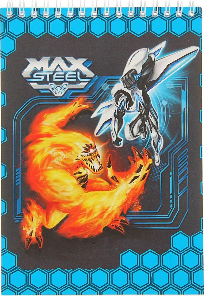Блокнот Max Steel, 60 листов1722404Блокнот Max Steel легкий и компактный - его удобно носить в рюкзаке. Яркая обложка из мелованного картона понравится маленьким любителям историй о супергероях. Разметка в клетку поможет делать аккуратные записи. Пружинное крепление позволяет легко вырывать страницы, при необходимости используя блокнот, как блок для заметок.