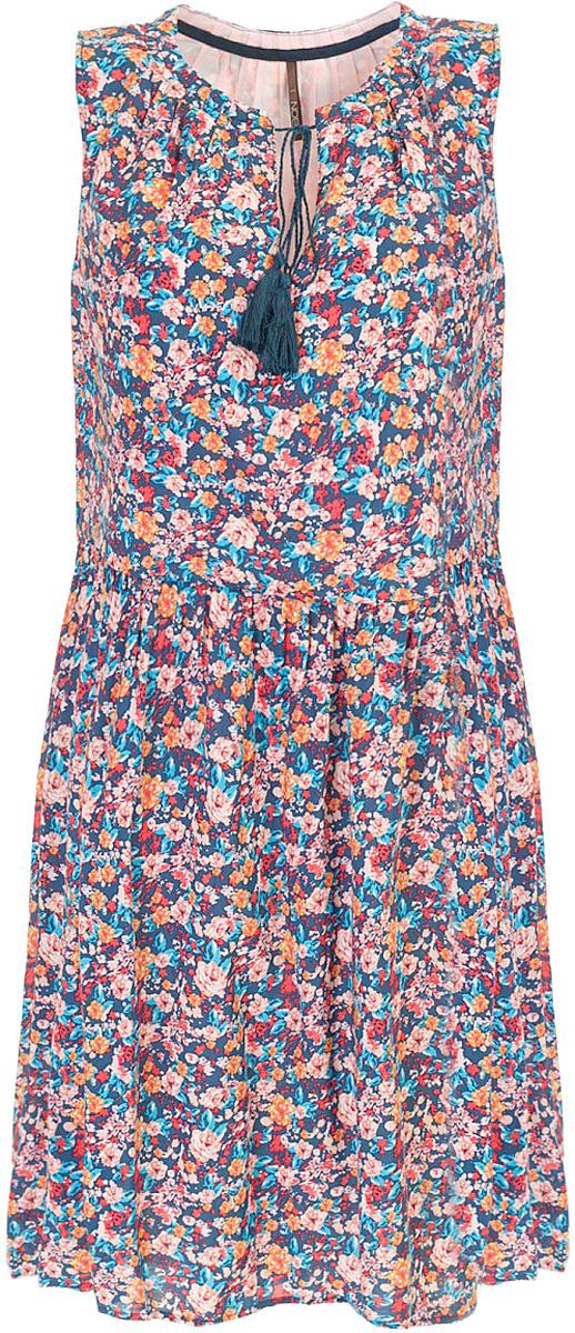 Платье Baon, цвет: синий. B457070_Navy Printed. Размер XL (50)B457070_Navy PrintedПлатье Baon выполнено из натурального хлопка. Округлый вырез горловины дополнен завязывающимся шнурком с кистями. Задняя часть юбки слегка удлинена, что создаёт модный силуэт.