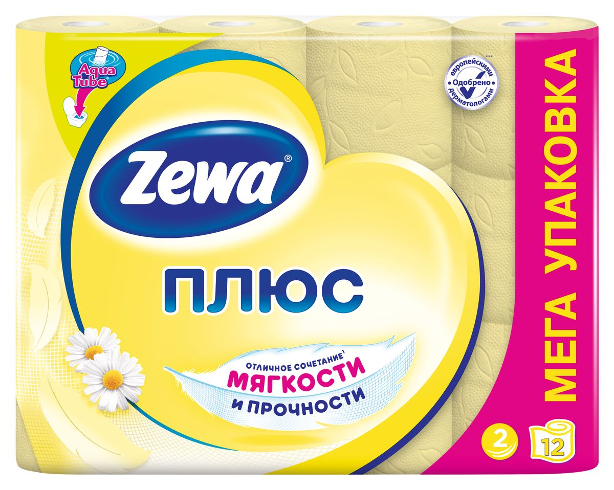 Туалетная бумага Zewa Плюс Ромашка, 2 слоя, 12 рулонов туалетная бумага с анекдотами