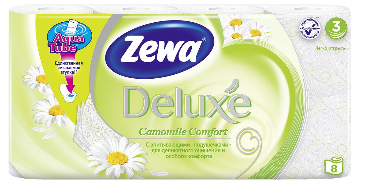 """Подарите себе удовольствие от ежедневного ухода за собой.   Zewa Deluxe с  новыми впитывающими """"подушечками""""  деликатно очищает и нежно заботится о вашей коже. Мягкость, Забота, Комфорт – вашей коже это понравится! Сенсация! Со смываемой втулкой Aqua Tube! Белая 3-х слойная туалетная бумага с ароматом ромашки 8 рулонов в упаковке Состав: целлюлоза Производство: Россия"""