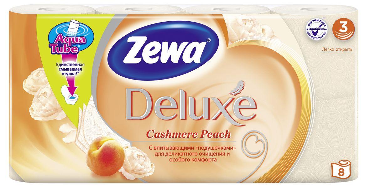 Бумага туалетная Zewa Deluxe. Персик, 3 слоя, 8 рулонов02.03.05.5363Подарите себе удовольствие от ежедневного ухода за собой. Zewa Deluxe с новыми впитывающими подушечками деликатно очищает и нежно заботится о вашей коже. Мягкость, забота, комфорт - вашей коже это понравится!Со смываемой втулкой Aqua Tube!Белая 3-х слойная туалетная бумага с ароматом персика.