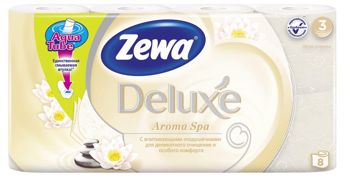 Бумага туалетная Zewa Deluxe. АромаСпа, 3 слоя, 8 рулонов02.03.05.5367Подарите себе удовольствие от ежедневного ухода за собой.3-х слойная туалетная бумага цвета шампань с тонким ароматомароматического масла Zewa Deluxe. АромаСпа со смываемой втулкой Aqua Tube и новыми впитывающими подушечками деликатно очищает инежно заботится о вашей коже. Мягкость, забота, комфорт - вашей коже это понравится!