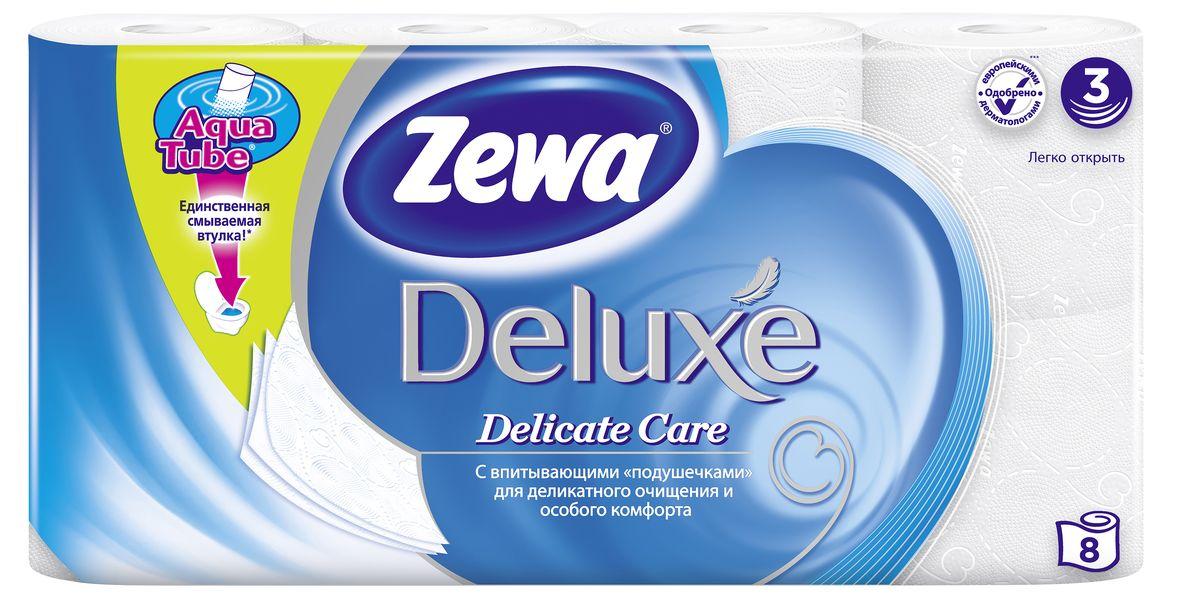 Туалетная бумага Zewa Deluxe Белая, 3 слоя, 8 рулонов02.03.05.5366Подарите себе удовольствие от ежедневного ухода за собой. Zewa Deluxe сновыми впитывающими подушечкамиделикатно очищает и нежно заботится о вашей коже. Мягкость, Забота, Комфорт – вашей коже это понравится! Сенсация! Со смываемой втулкой Aqua Tube! Белая 3-х слойная туалетная бумага без аромата 8 рулонов в упаковке Состав: целлюлоза Производство: Россия