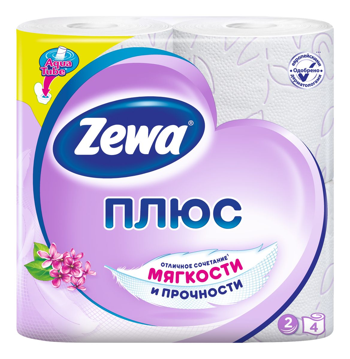 Туалетная бумага Zewa Плюс Сирень, 2 слоя, 4 рулона02.03.05.144052/144108Туалетная бумага Zewa Плюс - это отличное сочетаниемягкости и прочности.Она одобренадерматологами и прекрасно подойдет всемчленам вашей семьи – и тем, кому нужна мягкая бумага, и тем,кому важна прочность. Позаботьтесьо себе и своих близких вместе с Zewa. Сенсация! Со смываемой втулкой Aqua Tube! Белая 2-х слойная туалетная бумага с сиреневым тиснением иароматом сирени 4 рулона в упаковке Состав: вторичное сырье Производство: Россия