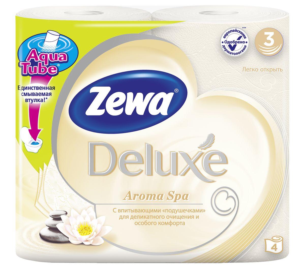 Туалетная бумага Zewa Deluxe АромаСпа, 3 слоя, 4 рулона5361-50Подарите себе удовольствие от ежедневного ухода за собой. Zewa Deluxe сновыми впитывающими подушечками деликатно очищает и нежно заботится о вашей коже.Мягкость, Забота, Комфорт – вашей коже это понравится!Сенсация! Со смываемой втулкой Aqua Tube!3-х слойная туалетная бумага цвета шампань с тонким ароматом ароматического масла4 рулона в упаковкеСостав: вторичное волокноПроизводство: Россия
