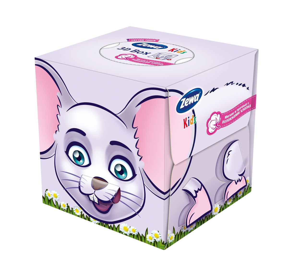 Салфетки бумажные косметические Zewa Kids Мышка, 60 шт