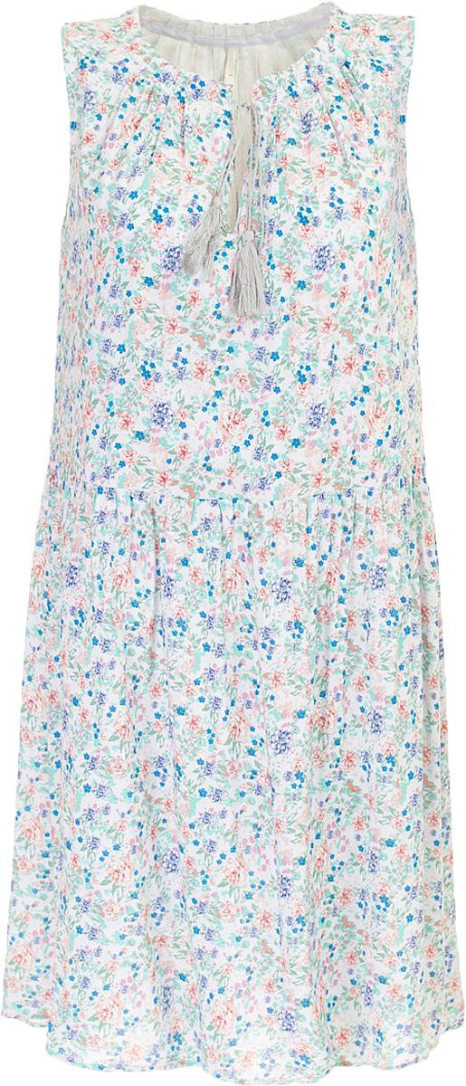 Платье Baon, цвет: серый. B457070_Barely Grey Printed. Размер S (44)B457070_Barely Grey PrintedПлатье Baon выполнено из натурального хлопка. Округлый вырез горловины дополнен завязывающимся шнурком с кистями. Задняя часть юбки слегка удлинена, что создаёт модный силуэт.