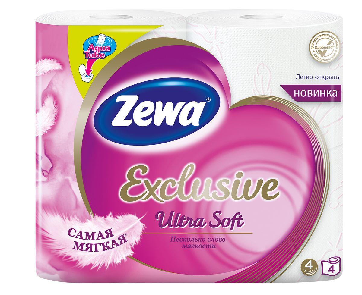 Туалетная бумага Zewa Exclusive, 4 слоя, 4 рулона144112Zewa Exclusive - самая мягкая туалетная бумага, она бережноухаживает за кожей благодаря 4-м ультра-мягким слоям. Сенсация! Со смываемой втулкой Aqua Tube! Белая 4-х слойная туалетная бумага без аромата 4 рулона в упаковке Состав: целлюлоза