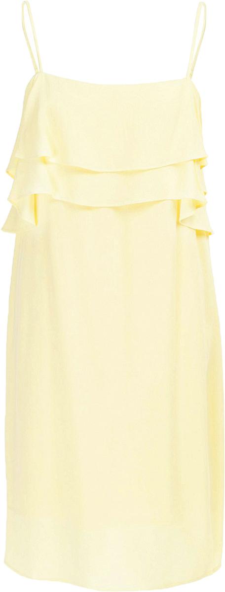 Сарафан Baon, цвет: желтый. B467011_Canary. Размер S (44)B467011_CanaryМодный сарафан Baon имеет лаконичный дизайн: его верхняя часть украшена оборками. Изделие застёгивается на молнию на спине. Бретели регулируются по длине.