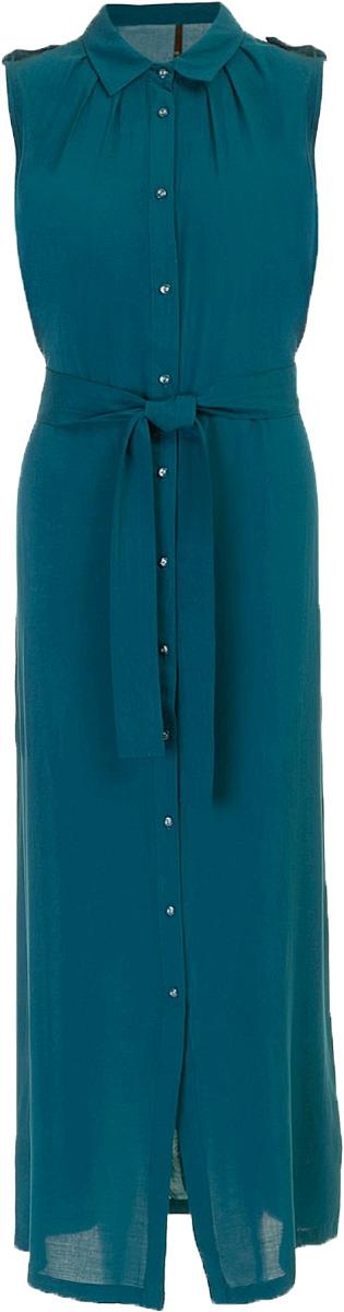 Платье Baon, цвет: зеленый . B457096_Cold Teal. Размер M (46)B457096_Cold TealПлатье-рубашка Baon выполнено из вискозы. Плечи декорированы погонами. Изделие застёгивается на пуговицы, расположенные по всей длине. Приталенный силуэт можно создать при помощи завязывающегося пояса.