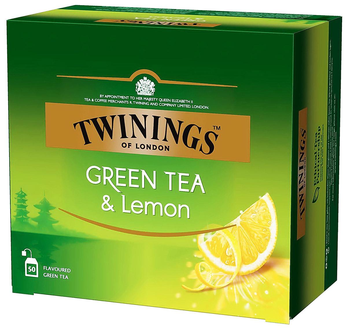 Twinings Green Tea & Lemon зеленый чай с цедрой лимона в пакетиках, 50 шт lipton lemon melissa green tea зеленый чай в пирамидках с листочками лимонной мяты 20 шт