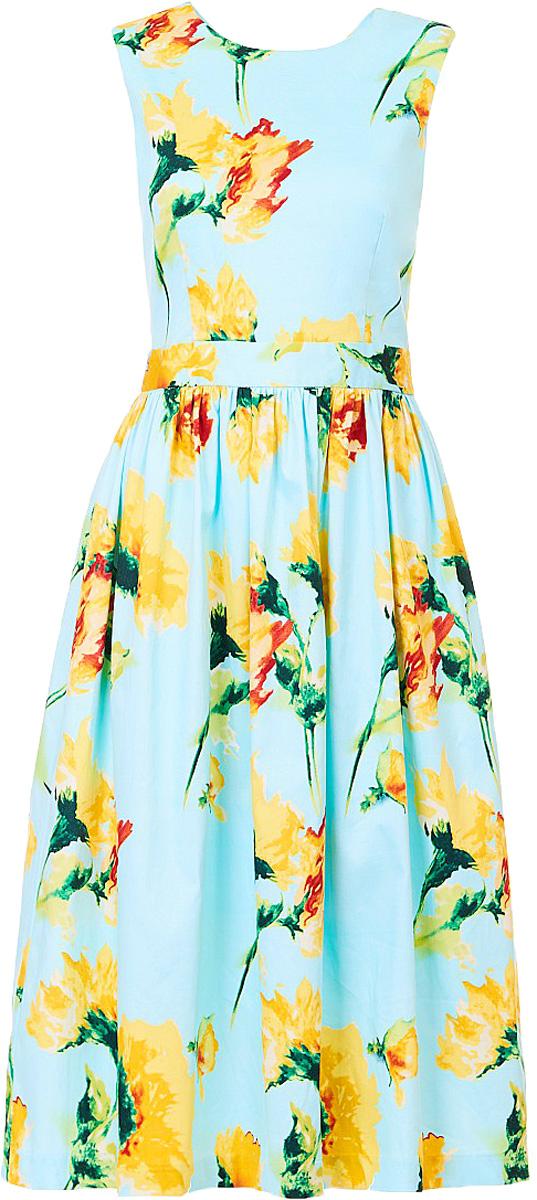 Платье Baon, цвет: голубой. B457083_Adriatic Mist Printed. Размер L (48)B457083_Adriatic Mist PrintedПлатье Baon выполнено из хлопка и эластана. Изделие имеет приталенный силуэт и пышную юбку со складками у пояса. Спинка платья украшена небольшим разрезом. Платье застёгивается на молнию, расположенную сбоку.