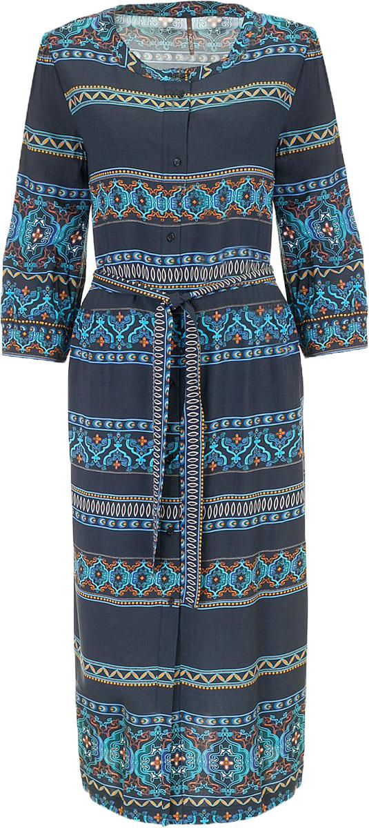 Платье Baon, цвет: голубой, синий. B457078_Caribbean Sea-Dusk Printed. Размер L (48)B457078_Caribbean Sea-Dusk PrintedПлатье Baon выполнена из вискозы. Модель с круглым вырезом горловины и длинными рукавами.