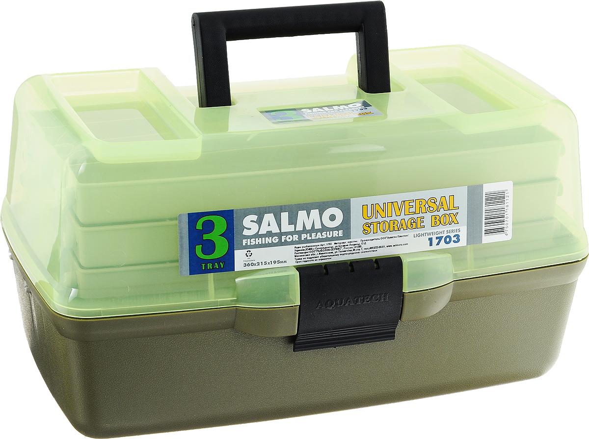 Ящик рыболовный Salmo, трехполочный, цвет: зеленый1703Рыболовный ящик Salmo выполнен из пластика и отлично подойдет рыболовам. Эконом-версия ящика с подъёмными полками. Ящик Salmo более компактен и имеет меньший вес по сравнению с аналогами. Оборудован тремя подъёмными полками. В ящик можно положить все необходимое для длительного нахождения на рыбалке.
