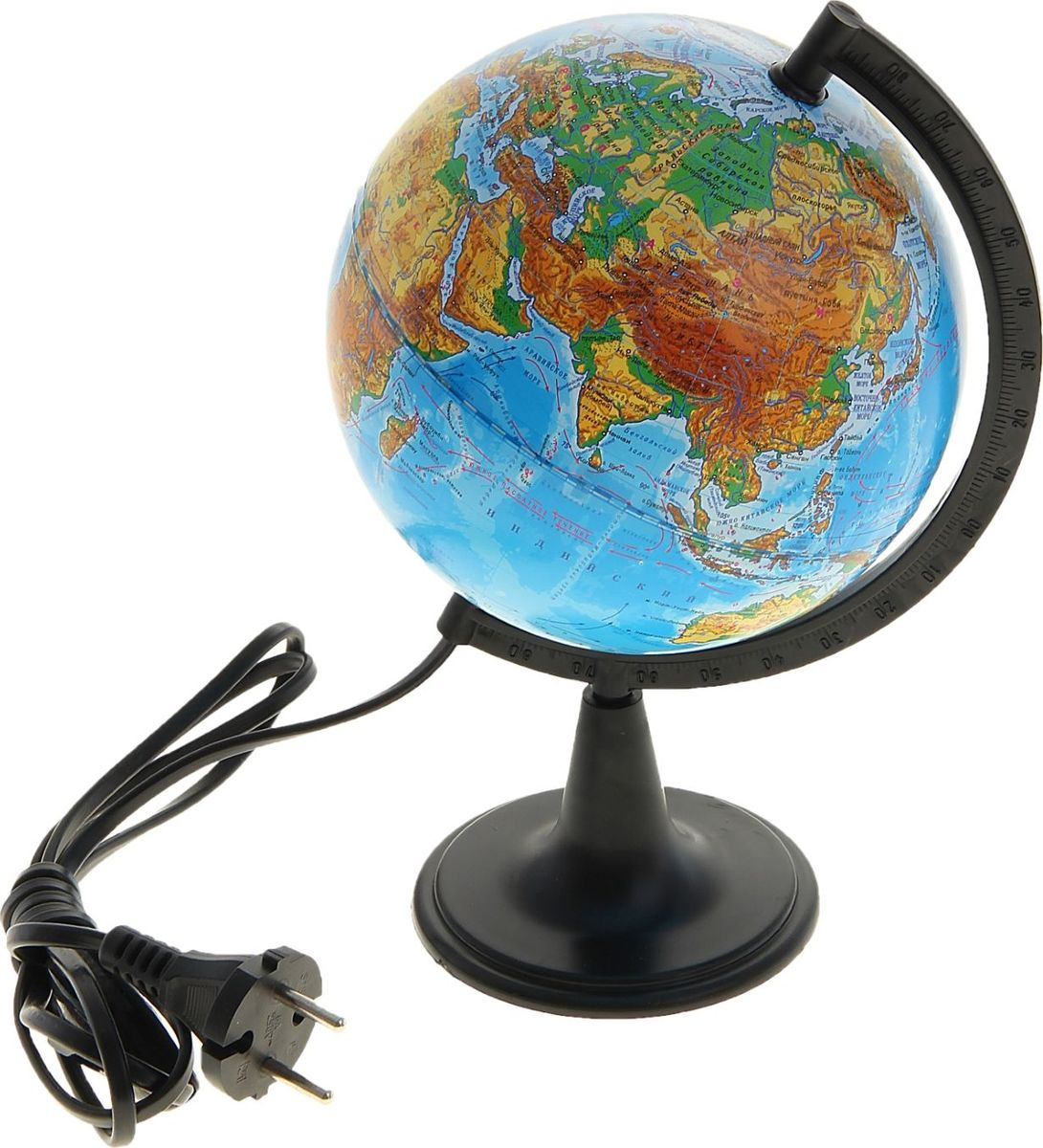 Глобусный мир Глобус физический с подсветкой диаметр 15 см1065208Глобус для всех, глобус каждому!Глобус — самый простой способ привить ребенку любовь к географии. Он является отличным наглядным примером, который способен в игровой доступной и понятной форме объяснить понятия о планете Земля.Также интерес к глобусам проявляют не только детки, но и взрослые. Для многих уменьшенная копия планеты заменяет атлас мира из-за своей доступности и универсальности.Умный подарок! Кому принято дарить глобусы? Всем! Глобус физический диаметр 150 мм, с подсветкой — это уменьшенная копия земного шара, в которой каждый найдет для себя что-то свое.путешественники и заядлые туристы смогут отмечать с помощью стикеров те места, в которых побывали или собираются их посетитьделовые и успешные люди оценят такой подарок по достоинству, потому что глобус ассоциируется со статусом и властьюпреподаватели, ученые, студенты или просто неординарные личности также найдут для глобуса достойное место в своем доме.Итак, спешите заказать настольные глобусы в нашем интернет-магазине по привлекательным ценам, и помните, кто владеет глобусом, тот владеет миром!
