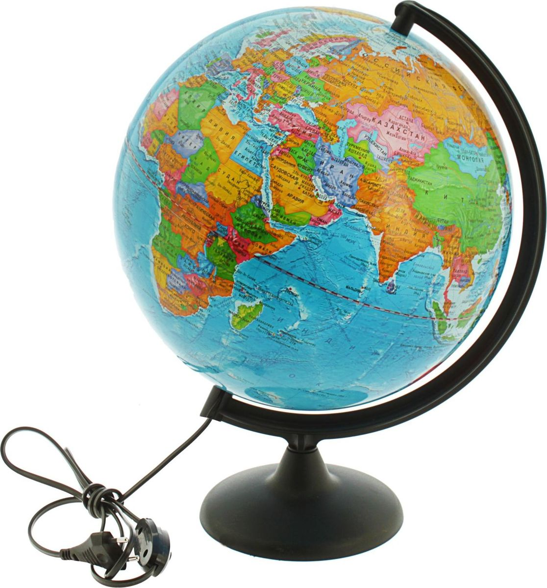 Глобусный мир Глобус политический с подсветкой диаметр 30 см1065222Глобус для всех, глобус каждому!Глобус - самый простой способ привить ребенку любовь к географии. Он является отличным наглядным примером, который способен в игровой доступной и понятной форме объяснить понятия о планете Земля.Также интерес к глобусам проявляют не только детки, но и взрослые. Для многих уменьшенная копия планеты заменяет атлас мира из-за своей доступности и универсальности.Умный подарок! Кому принято дарить глобусы? Всем! Глобус политический диаметр с подсветкой - это уменьшенная копия земного шара, в которой каждый найдет для себя что-то свое:-путешественники и заядлые туристы смогут отмечать с помощью стикеров те места, в которых побывали или собираются их посетить;-деловые и успешные люди оценят такой подарок по достоинству, потому что глобус ассоциируется со статусом и властью;-преподаватели, ученые, студенты или просто неординарные личности также найдут для глобуса достойное место в своем доме.
