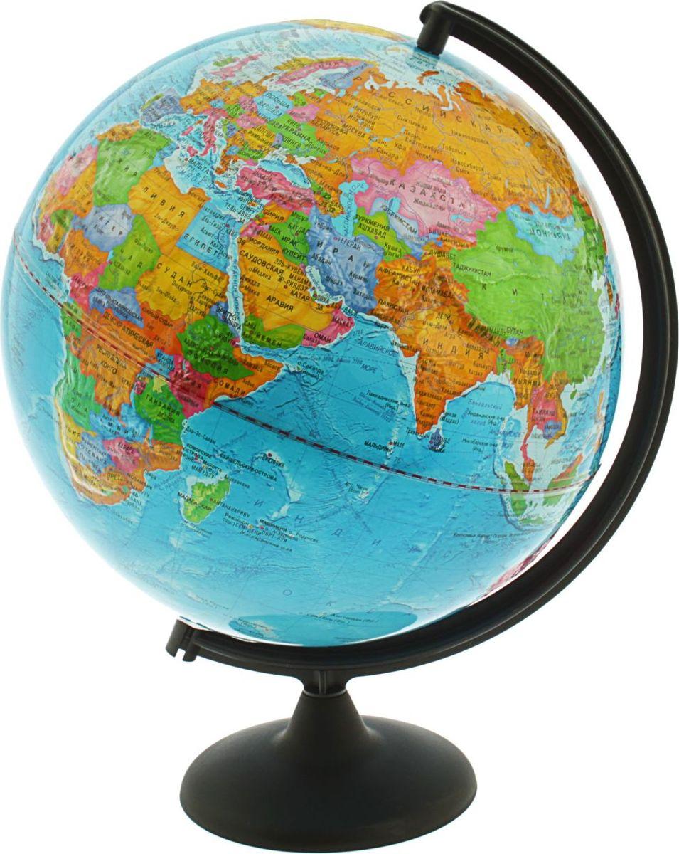 Глобусный мир Глобус политический рельефный диаметр 32 см1065227Глобус для всех, глобус каждому!Глобус — самый простой способ привитьребенку любовь к географии. Он является отличным наглядным примером,который способен в игровой доступной и понятной форме объяснить понятия опланете Земля.Также интерес к глобусам проявляют не только детки, но ивзрослые. Для многих уменьшенная копия планеты заменяет атлас мира из-засвоей доступности и универсальности.Умный подарок! Кому принятодарить глобусы? Всем! Глобус политический рельефный диаметр 320 мм — этоуменьшенная копия земного шара, в которой каждый найдет для себя что-то свое. путешественники и заядлые туристы смогут отмечать с помощью стикеров теместа, в которых побывали или собираются их посетитьделовые и успешныелюди оценят такой подарок по достоинству, потому что глобус ассоциируется состатусом и властьюпреподаватели, ученые, студенты или простонеординарные личности также найдут для глобуса достойное место в своем доме. Итак, спешите заказать настольные глобусы в нашем интернет-магазине попривлекательным ценам, и помните, кто владеет глобусом, тот владеет миром!