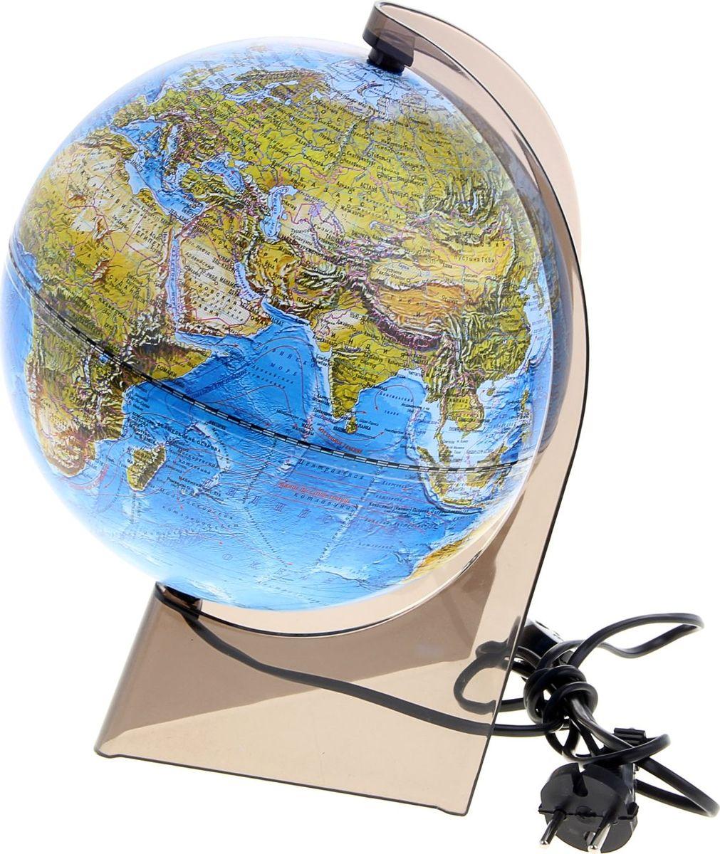 Глобусный мир Глобус ландшафтный с подсветкой диаметр 21 см1077867Глобус для всех, глобус каждому!Глобус — самый простой способ привить ребенку любовь к географии. Он является отличным наглядным примером, который способен в игровой доступной и понятной форме объяснить понятия о планете Земля.Также интерес к глобусам проявляют не только детки, но и взрослые. Для многих уменьшенная копия планеты заменяет атлас мира из-за своей доступности и универсальности.Умный подарок! Кому принято дарить глобусы? Всем! Глобус ландшафтный диаметр 210 мм, на треугольной подставке, с подсветкой — это уменьшенная копия земного шара, в которой каждый найдет для себя что-то свое.путешественники и заядлые туристы смогут отмечать с помощью стикеров те места, в которых побывали или собираются их посетитьделовые и успешные люди оценят такой подарок по достоинству, потому что глобус ассоциируется со статусом и властьюпреподаватели, ученые, студенты или просто неординарные личности также найдут для глобуса достойное место в своем доме.Итак, спешите заказать настольные глобусы в нашем интернет-магазине по привлекательным ценам, и помните, кто владеет глобусом, тот владеет миром!