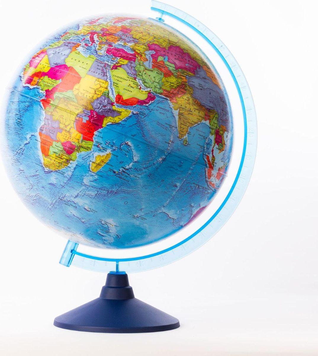 Глобен Глобус политический Классик Евро диаметр 32 см1259368Глобус для всех, глобус каждому!Глобус — самый простой способ привить ребенку любовь к географии. Он является отличным наглядным примером, который способен в игровой доступной и понятной форме объяснить понятия о планете Земля.Также интерес к глобусам проявляют не только детки, но и взрослые. Для многих уменьшенная копия планеты заменяет атлас мира из-за своей доступности и универсальности.Умный подарок! Кому принято дарить глобусы? Всем! Глобус политический диаметр 320мм Классик Евро — это уменьшенная копия земного шара, в которой каждый найдет для себя что-то свое.путешественники и заядлые туристы смогут отмечать с помощью стикеров те места, в которых побывали или собираются их посетитьделовые и успешные люди оценят такой подарок по достоинству, потому что глобус ассоциируется со статусом и властьюпреподаватели, ученые, студенты или просто неординарные личности также найдут для глобуса достойное место в своем доме.Итак, спешите заказать настольные глобусы в нашем интернет-магазине по привлекательным ценам, и помните, кто владеет глобусом, тот владеет миром!