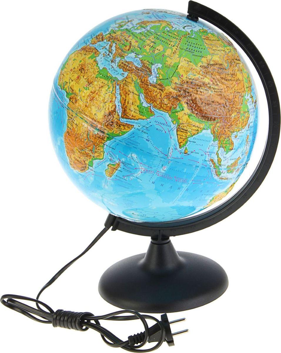 Глобусный мир Глобус физический рельефный c подсветкой диаметр 25 см