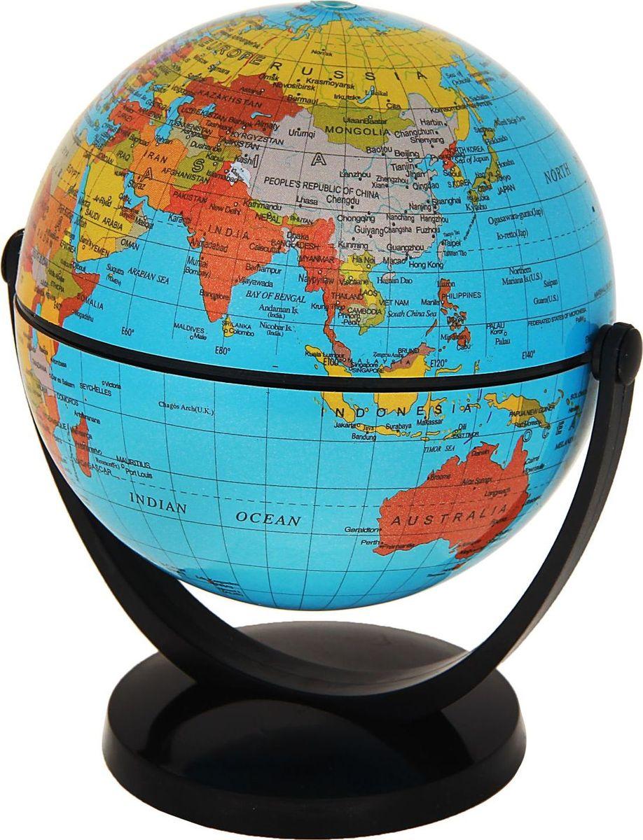 Глобус Политическая карта на английском языке цвет голубой диаметр 10,6 см278309Данная модель дает представление о политическом устройстве мира. Макет показывает расположение государств, столиц и крупных населенных пунктов. Названия всех объектов приведены на английском языке. Страны окрашены в разные цвета, чтобы вам было удобнее ориентироваться. На глобусе отображены: экватор, параллели, меридианы, градусы, государственные границы, демаркационные линии, железнодорожные и морские пути сообщения. Высота глобуса с подставкой: 13 см.Диаметр: 10,6 см.