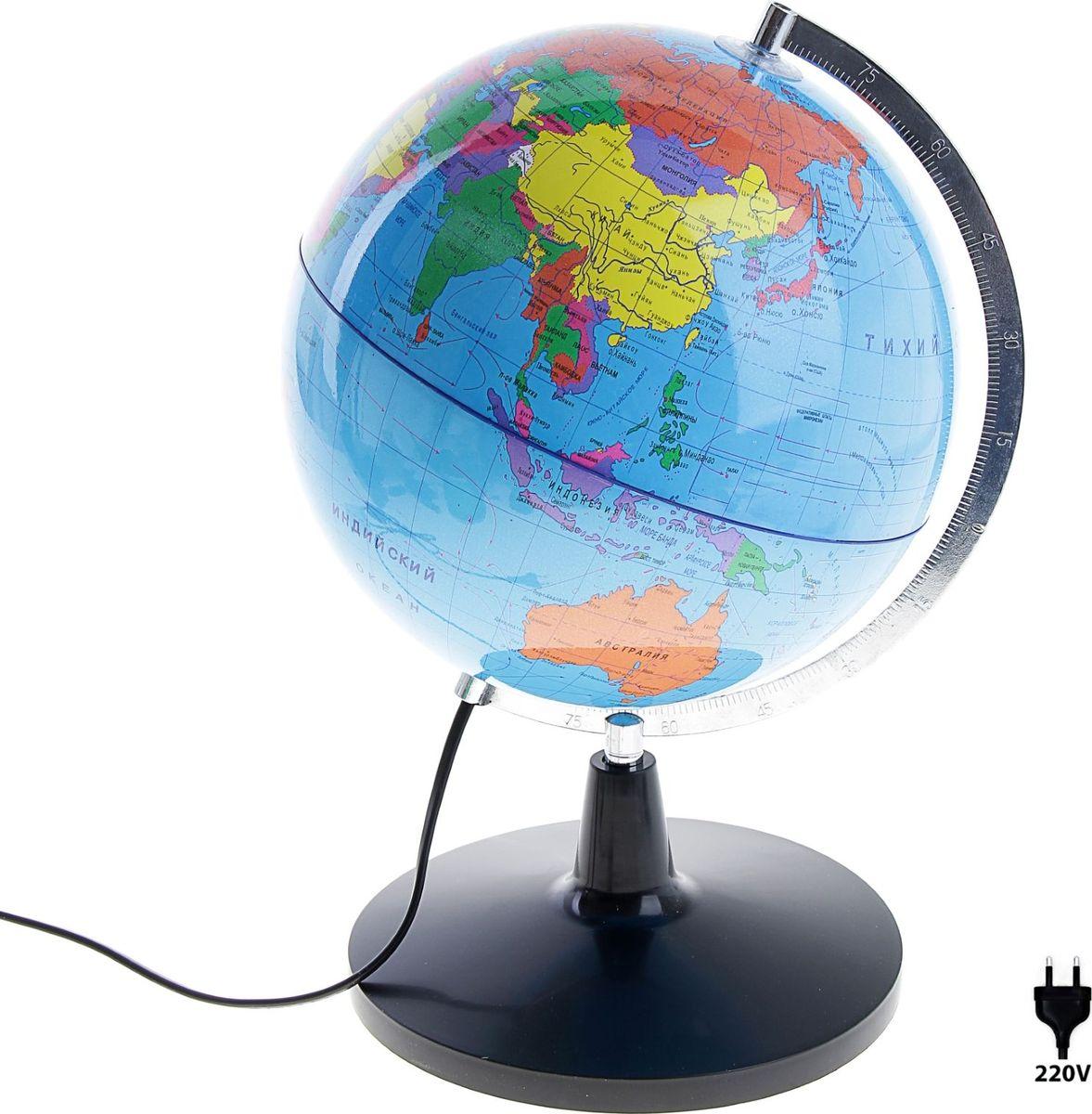 Глобус с подстветкой диаметр 25 см581208Данная модель дает представление о политическом устройстве мира. Макет показывает расположение государств, столиц и крупных населенных пунктов. Названия всех объектов приведены на русском языке. Страны окрашены в разные цвета, чтобы вам было удобнее ориентироваться. Изделие изготовлено из прочного пластика. На глобусе также отображены: экватор параллели меридианы градусы государственные границы демаркационные линии.Используйте глобус как ночник. Он оснащен мягкой, приглушенной LED-подсветкой. Характеристики Высота глобуса с подставкой: 39 см. Диаметр: 25 см. Масштаб: 1:52 000 000.