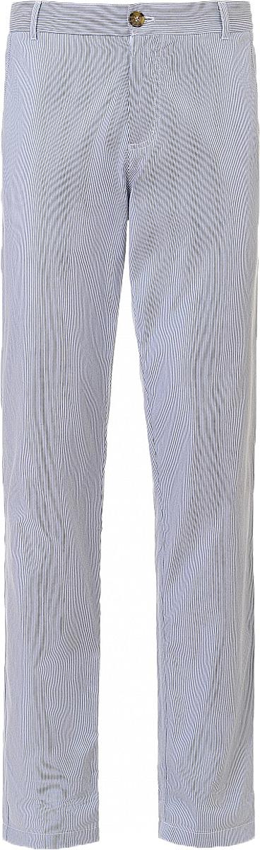 Брюки мужские Baon, цвет: синий. B797004_Deep Navy Striped. Размер XL (52)B797004_Deep Navy StripedБрюки мужские Baon выполнены из натурального хлопка. Модель застёгивается на молнию и пуговицу. Пояс дополнен шлёвками для ремня. Сзади и по бокам имеются карманы.