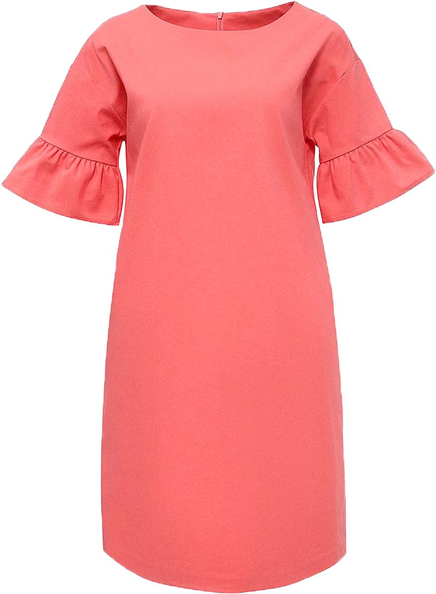 Платье Baon, цвет: розовый. B457043_Pieplant. Размер L (48)B457043_PieplantПлатье Baon выполнено из хлопка, эластана и полиамида. Модель с круглым вырезом горловины и короткими рукавами.