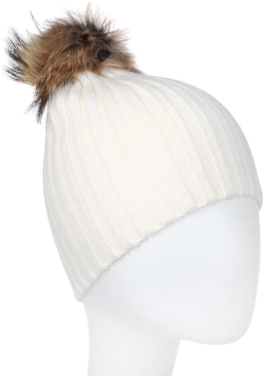 Шапка женская Модные истории, цвет: белый. 4-0049-001. Размер 56/57/584-0049-001Трендовая шапка - чулок из натурального кролика с помпоном из натурального меха. Отличный аксессуар защитит в непогоду и подарит ощущение теплоты.