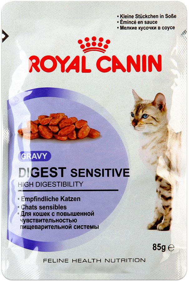 Консервы Royal Canin Digest Sensitive, для кошек с чувствительным пищеварением, мелкие кусочки в соусе, 85 г9537Консервы Royal Canin Digest Sensitive - полнорационный влажный корм кошек с чувствительным пищеварением.Кусочки в соусе для улучшения пищеварения у взрослых домашних кошек старше 1 годаКошки, не выходящие на улицу, имеют низкую физическую активность и малоподвижный образ жизни, поэтому они могут испытывать проблемы с пищеварением.В пищеварительном тракте кошки сбалансировано сосуществуют более 500 видов бактерий.При нарушении пищеварения этот баланс может быть нарушен, что может привести к нежелательным эффектам: скоплению газов и жидкому стулу с резким запахом. Для кошек с чувствительным пищеварением необходим рацион, содержащий легкоусвояемые белки и способствующий поддержанию идеального веса. Уменьшение запаха.Высокоусвояемый корм Digest Sensitive содержит легко усваиваемые белки, обладает исключительной аппетитностью и умеренной калорийностью, уменьшает запах фекалий.Поддержание идеального веса.Специально разработанные кусочки в соусе исключительной аппетитности и умеренной калорийности способствуют поддержанию идеального веса тела кошки.Здоровая мочевыводящая система.Корм помогает поддерживать здоровье мочевыделительной системы кошки, сокращая концентрацию минеральных веществ, способствующих образованию мочевых камней.Состав: мясо и мясные субпродукты, злаки, экстракты белков растительного происхождения, субпродукты растительного происхождения, минеральные вещества, углеводы.Добавки (в 1 кг):Витамин D3: 175 ME, Железо: 9,3 мг, Йод: 0,4 мг, Марганец: 2,9 мг, Цинк: 29 мг. Товар сертифицирован.Уважаемые клиенты!Обращаем ваше внимание на возможные изменения в дизайне упаковки. Качественные характеристики товара остаются неизменными. Поставка осуществляется в зависимости от наличия на складе.