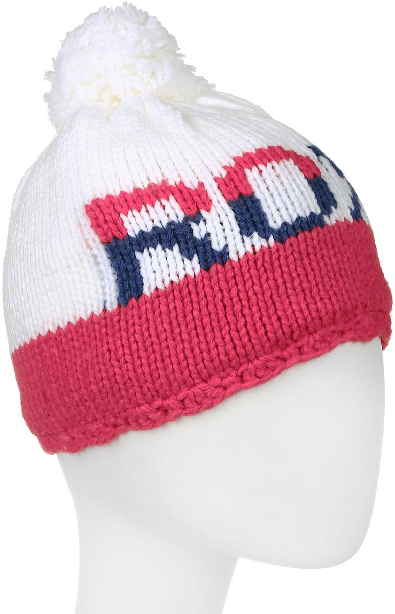 Шапка женская Roxy Fjord, цвет: розовый, белый. ERJHA03006-MNA0. Размер универсальныйERJHA03006-MNA0Стильная женская шапка Roxy Fjord дополнит ваш наряд и не позволит вам замерзнуть в холодное время года. Шапка-бини мелкой вязки выполнена из высококачественной акриловой пряжи, что позволяет ей великолепно сохранять тепло и обеспечивает высокую эластичность и удобство посадки. Подкладка выполнена из мягкого и приятного на ощупь флиса.Шапка оформлена пушистым помпоном и контрастным узором с логотипом бренда Roxy.Такая шапка станет модным и стильным дополнением вашего зимнего гардероба, великолепно подойдет для активного отдыха и занятия спортом. Она согреет вас и позволит подчеркнуть свою индивидуальность!