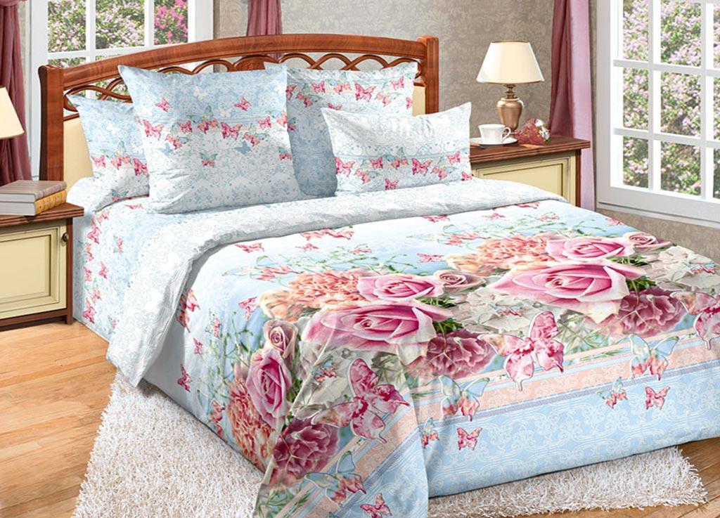 Комплект белья Primavera Розы и бабочки, семейный, наволочки 70x70