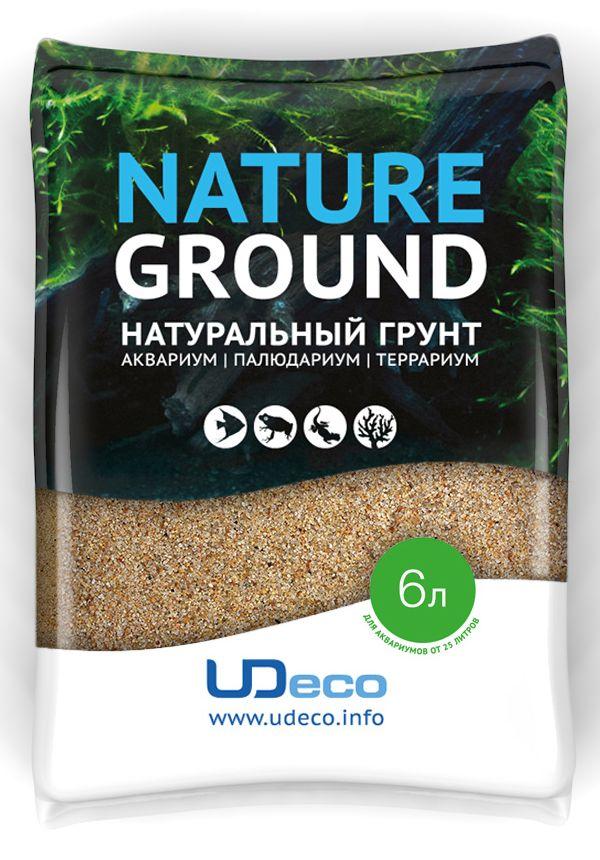 Грунт для аквариума UDeco Янтарный песок, натуральный, 0,4-0,8 мм, 6 л аксессуары для аквариумов и террариумов laguna растение для аквариума 10см