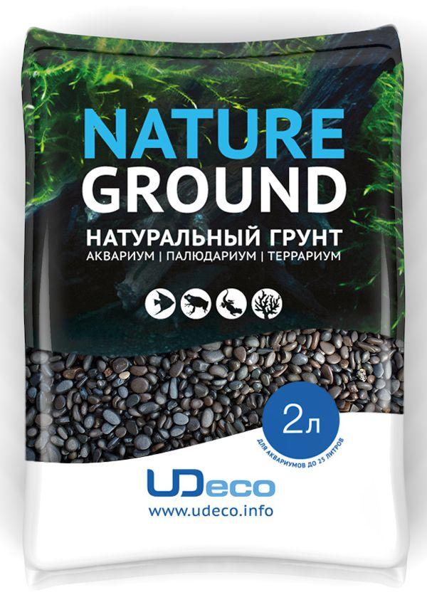Грунт для аквариума UDeco Темный гравий натуральный 3-5 мм 2 л