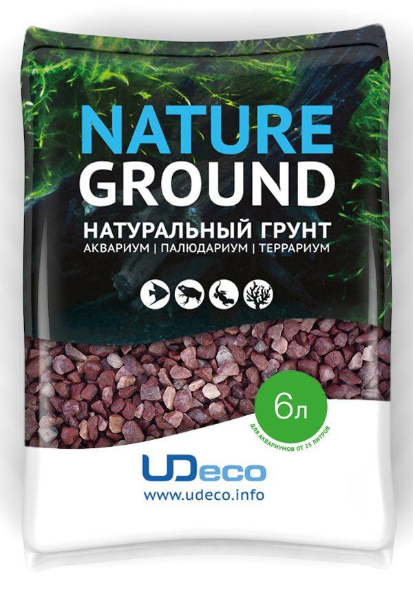 Грунт для аквариума UDeco Красный гравий, натуральный, 4-6 мм, 6 л натуральный грунт для аквариумов udeco river светлый гравий 2 5 5 мм 2 л