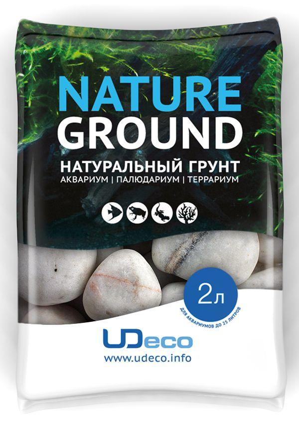 Грунт для аквариума UDeco Белая галька, натуральный, 30-50 мм, 2 л галька реликтовая эко грунт для аквариумов 4 8 мм 3 5 кг