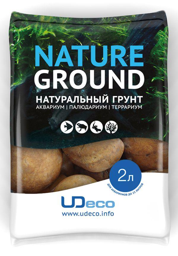 Грунт для аквариума UDeco Оранжевая галька, натуральный, 30-50 мм, 2 л галька реликтовая эко грунт для аквариумов 4 8 мм 3 5 кг