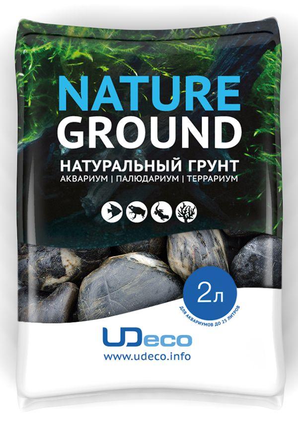 Грунт для аквариума UDeco Черная галька, натуральный, 30-50 мм, 2 л галька реликтовая эко грунт для аквариумов 4 8 мм 3 5 кг