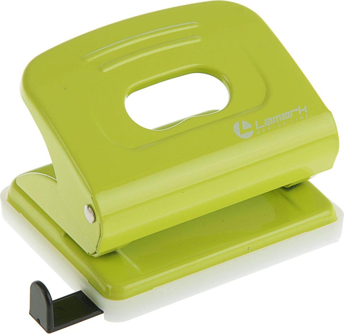 Lamark Дырокол Mettallic с линейкой на 20 листов цвет светло-зеленый дырокол deli vivid e0123 20 листов ассорти белый