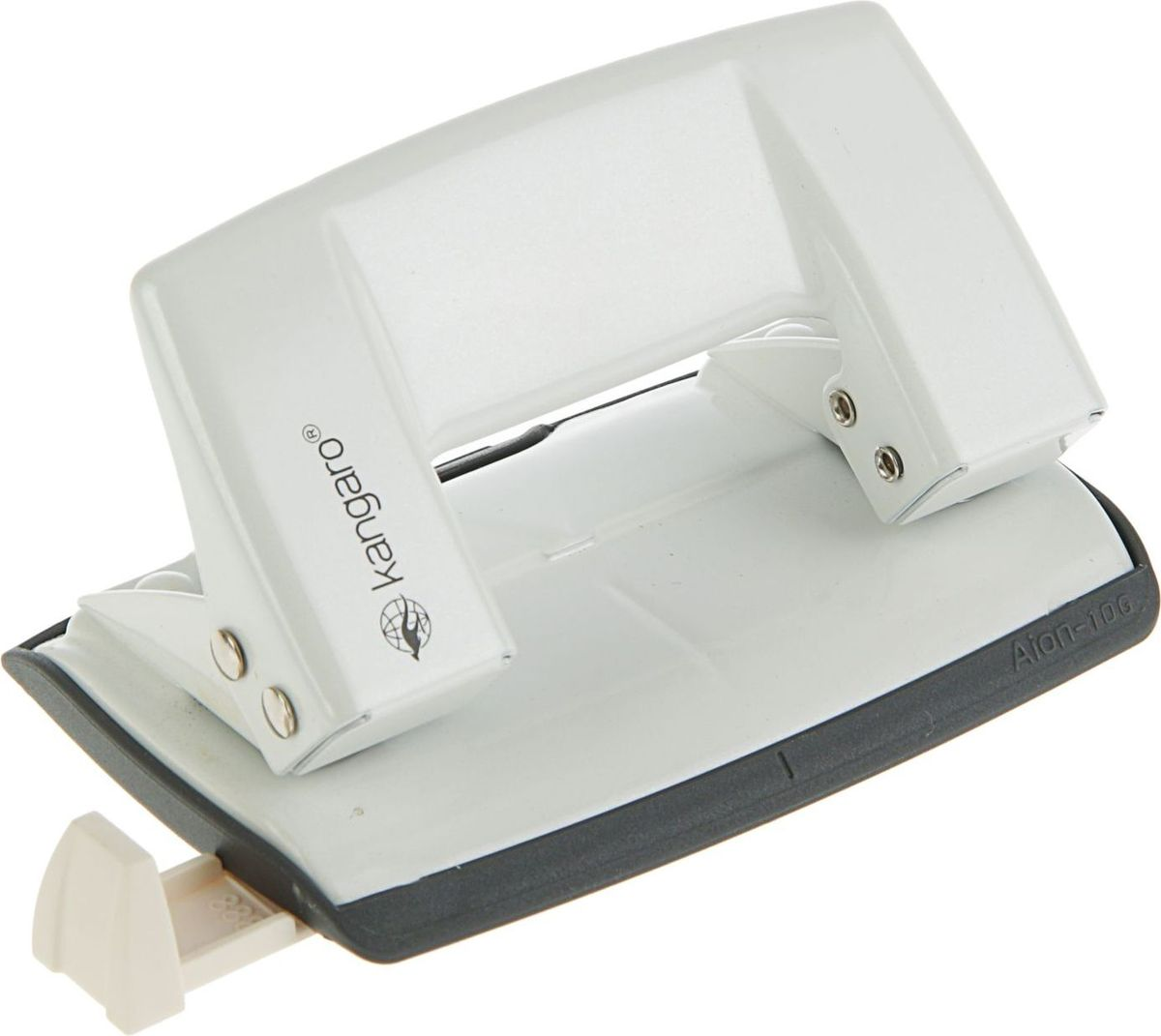 Kangaro Дырокол Aion -10G на 10 листов цвет белый металлик2334250Удобный и практичный дырокол Kangaro Aion -10G- незаменимый офисный инструмент. Компактный дырокол в эргономичном корпусе с металлическим механизмом предназначен для одновременной перфорации до 10 листов бумаги. Для удобной работы имеет нескользящее основание и съемный резервуар для обрезков бумаги. Стальные рабочие поверхности обеспечивают долгий срок его эксплуатации.